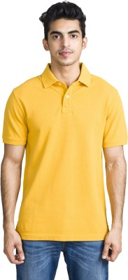 Bhane Solid Men's Flap Collar Neck Yellow T-Shirt