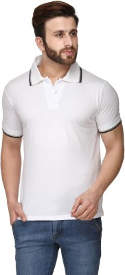 Scott International Solid Mens Polo White T-Shirt
