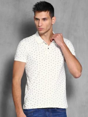 WROGN Printed Men's Polo Neck White T-Shirt