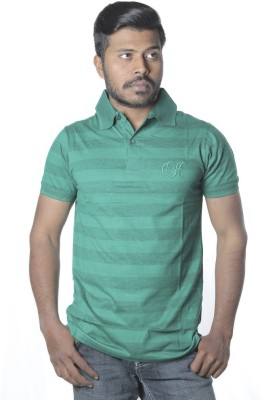 Poonam Striped Men's Polo Green T-Shirt