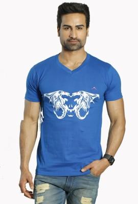 ALBITEN Printed Men's V-neck Blue T-Shirt