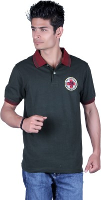 Austin Wood Solid Men's Polo Neck Dark Green T-Shirt