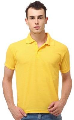 John Caballo Solid Men's Polo Neck Yellow T-Shirt