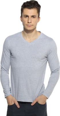 Pepperclub Solid Men's V-neck Grey T-Shirt