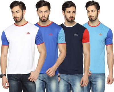 Canyons Solid Men's Round Neck White, Blue, Dark Blue, Light Blue T-Shirt