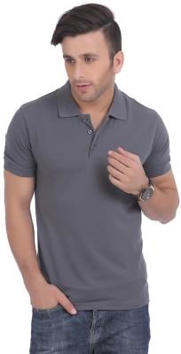 Burdy Solid Men's Polo Neck Grey T-Shirt