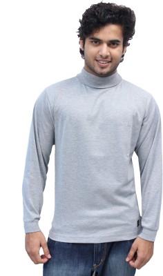 Romano Solid Men's Turtle Neck Grey T-Shirt