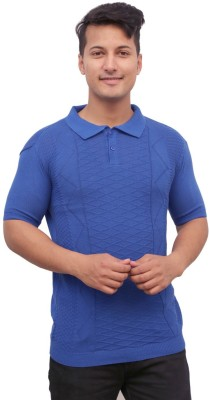 Protex Self Design Men's Polo Neck Blue T-Shirt