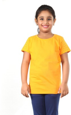 PINKY PONKY Solid Girl's Round Neck Orange T-Shirt