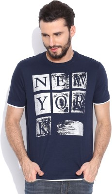 Sera Printed Men's Round Neck Dark Blue T-Shirt