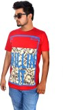 Drakeman Printed Men's Round Neck Red T-...