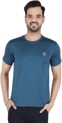 Awack Solid Men's Round Neck Blue T-Shirt