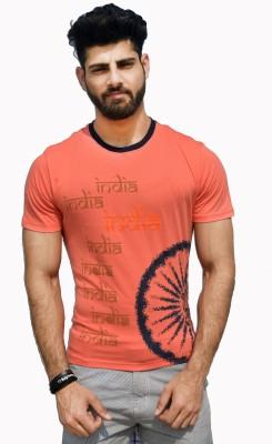 Geesa Printed Men's Round Neck Pink T-Shirt