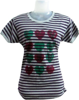 Revinfashions Striped Girl,s Round Neck Multicolor T-Shirt