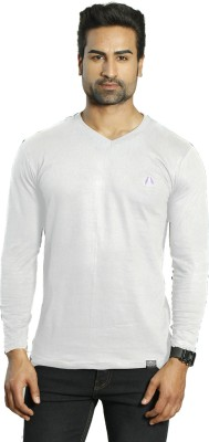 ALBITEN Solid Men's V-neck White T-Shirt