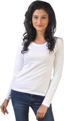 No Code Solid Women's Round Neck White T-Shirt