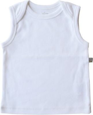 Babeez World Solid Baby Boy's Round Neck White T-Shirt