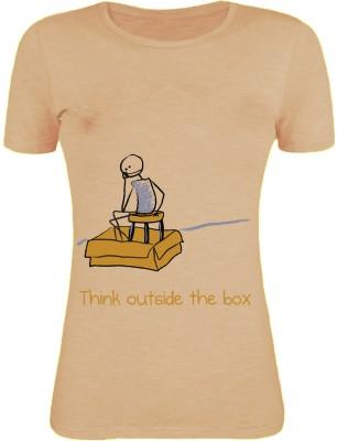 Gabi Printed Women's Round Neck Brown T-Shirt