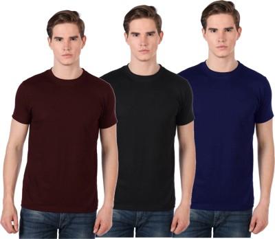 Xarans Solid Men's Round Neck Brown, Black, Blue T-Shirt