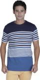 Prakum Striped Men's Round Neck Blue, Wh...
