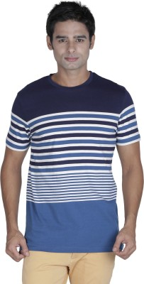 Prakum Striped Men's Round Neck Blue, White T-Shirt