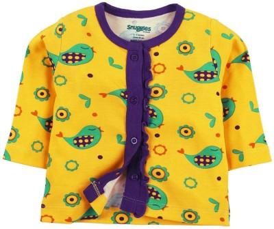 Snuggles Printed Baby Girl's Round Neck Yellow T-Shirt