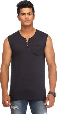 Male Basics Solid Men's Fashion Neck Black T-Shirt
