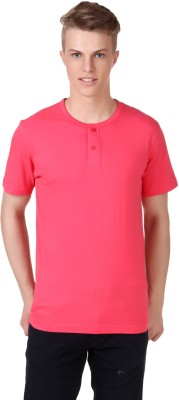 Aventura Outfitters Solid Men's Henley Pink T-Shirt