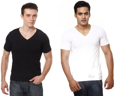 Casual Tees Solid Men's V-neck Multicolor T-Shirt