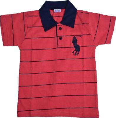 NavyaRiti Striped Boy's Polo Neck Beige T-Shirt