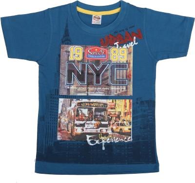 Kyle Graphic Print Baby Boy's Round Neck Blue T-Shirt