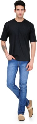 Alpha Male Solid Men's Round Neck Black T-Shirt