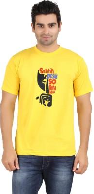 Avenster Sport Graphic Print Men's Round Neck Yellow T-Shirt