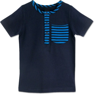 ATUN Solid Boy's Henley Blue T-Shirt