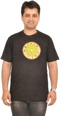Stallion Cottons Printed Men's Round Neck Black T-Shirt