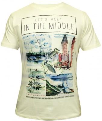 Hefty Graphic Print Men's Round Neck Beige T-Shirt