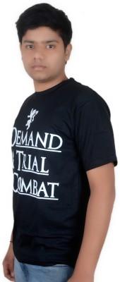 Ice Dragon Printed Men's Round Neck Black T-Shirt