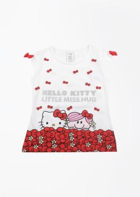 Hello Kitty Printed Girl,s Round Neck White T-shirt