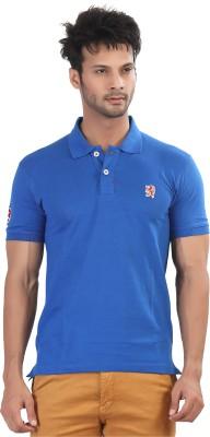 Purple Haze Solid Men's Polo Neck Blue T-Shirt