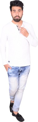 Zrestha Solid Men's Round Neck White T-Shirt