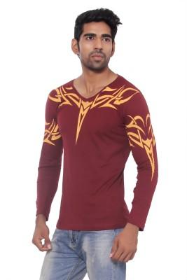 Pezzava Self Design Men's Round Neck Reversible Maroon, Yellow T-Shirt