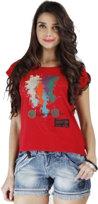 Chlorophile Printed Womens Round Neck Red T-Shirt