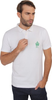French Connection Solid Men's Polo Neck White T-Shirt