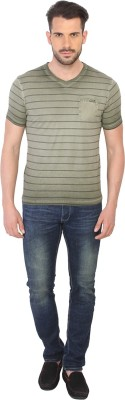 Being Human Clothing Striped Men's V-neck Green T-Shirt