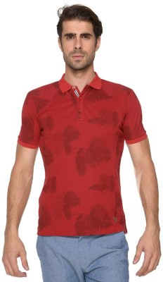Copperstone Printed Men's Polo Neck Purple T-Shirt