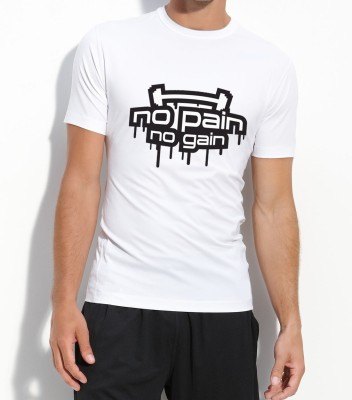 Voguestyle Graphic Print Men's Round Neck White T-Shirt