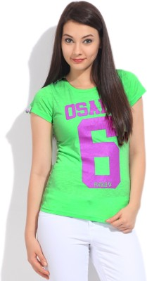Superdry Printed Women's Round Neck Green T-Shirt