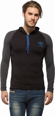 Alan Jones Solid Men's Hooded Black T-Shirt
