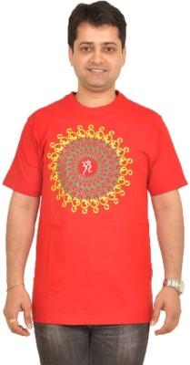 Stallion Cottons Printed Men's Round Neck Red T-Shirt