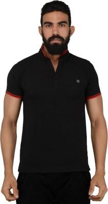 Gotit Solid Men's Fashion Neck Black T-Shirt